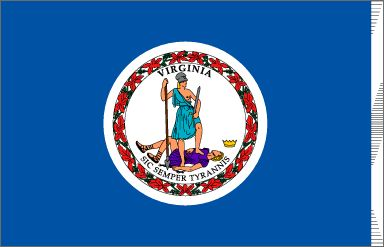 "Virginia State FlagFlag:   A deep blue field contains the seal of Virginia with the Latin motto ""Sic Semper Tyrannis"" - ""Thus Always to Tyrants"". Adopted in 1776. The two figures are acting out the meaning of the motto. Both are dressed as warriors. The woman, Virtue, represents Virginia. The man holding a scourge and chain shows that he is a tyrant. His fallen crown is nearby."