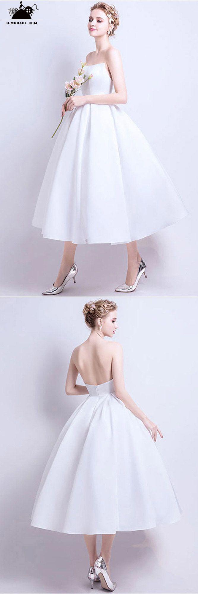 Short Ballgown White Wedding Dress Tea Length Short Wedding Dress Simple Wedding Dress Short Short Bridal Dress [ 2000 x 667 Pixel ]