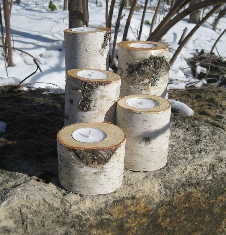Birch bark candle holder wedding centerpieces home decor