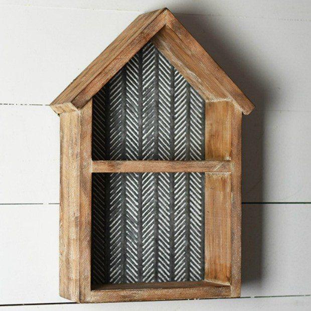 Wood And Tin House Shaped Shadow Box Tin House House Shelves Decor
