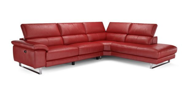Salone Option C Left Arm Facing Single Electric Recliner Corner Sofa  New Club | DFS. Iconica Red leather sofa