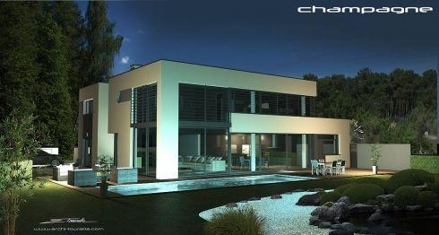 VUES EXTERIEURES - villa contemporaine, villa design contemp, toit - Idee Facade Maison Moderne