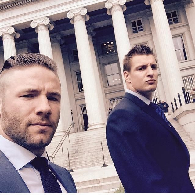 Julian Edelman & Rob Gronkowski at the Whitehouse tour. #SuperBowlChamps #GoPatriots