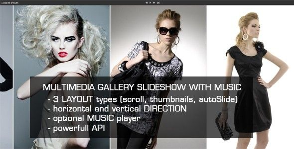Jquery Multimedia Gallery Slideshow with Music . MultiMedia Gallery Slideshow with Music could be used as a gallery viewer, or a slideshow for your website or any kind of product viewer. 3 main layouts included (autoSlide, manual scroll, thumbnail navigation), vertical or horizontal orientation for each layout, responsive or fixed size.