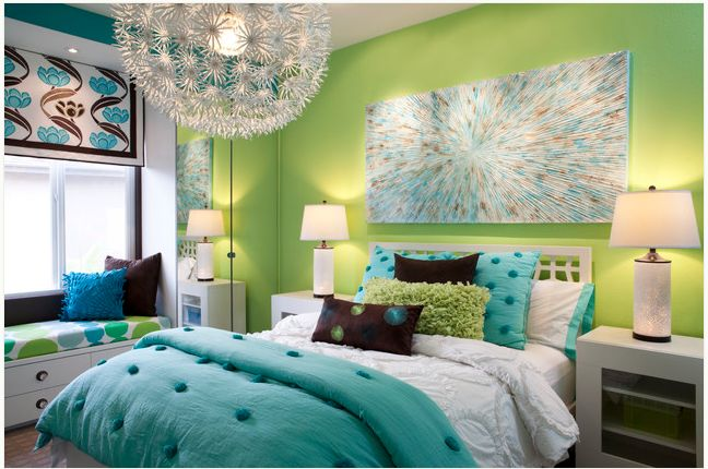Sample pin. Teen bedroom in vibrant blues and greens. I'd want it in black and white with neon accent colors...