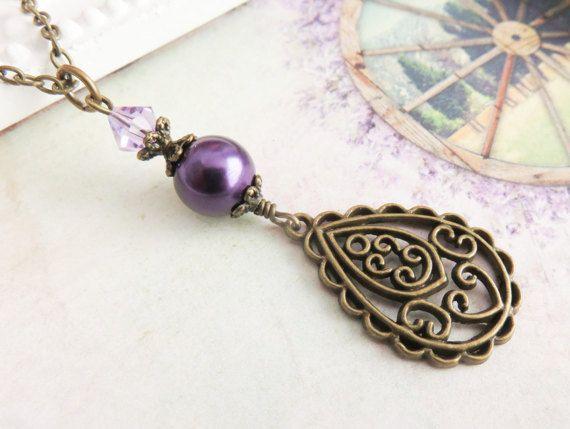 Dark purple necklace, rustic style jewelry . #handmade #jewelry #necklace #weddings #bridesmaid #purple #rustic #wedding #bridal #bride