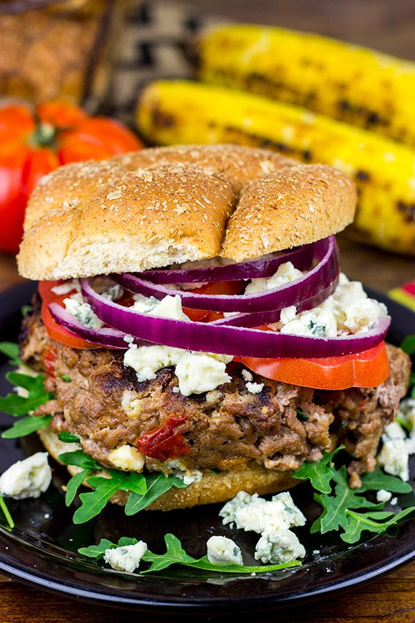 Sundried Tomato and Gorgonzola Burgers Recipe on Pepperidge Farm Farmhouse Hearty Buns. Make the most of summer grilling with big, bold burgers. These super flavorful burgers are stuffed with flavor from herbs, tomatoes and seasoning. Piled high on Stone Ground Wheat buns, they make for a fabulous barbeque or weeknight dinner.