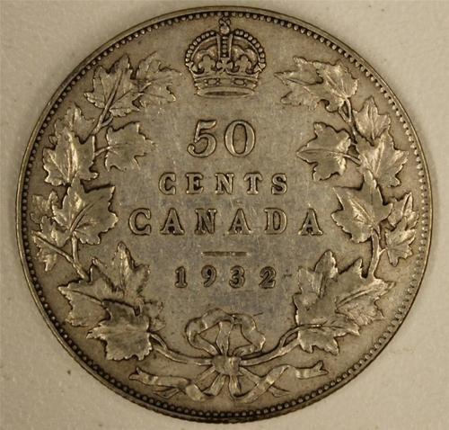 1932 Canada 50 Cents F/VF    Nice Original Coin    Scarce in High Grade