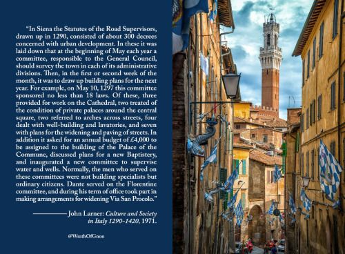 """""""In Siena the Statutes of the Road Supervisors, drawn up in 1290, consisted of about 300 decrees concerned with urban development. In these it was laid down that at the beginning of May each year a committee, responsible to the General Council, should survey the town in each of its administrative divisions. Then, in the first or second week of the month, it was to draw up building plans for the next year. For example, on May 10, 1297 this committee sponsored no less than 18 laws. Of these…"""