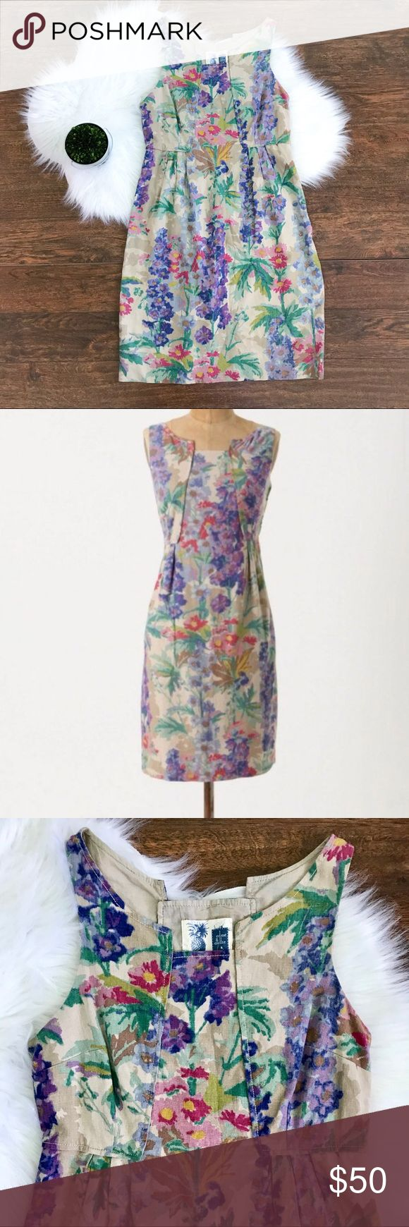 Anthropologie Edmé & Esyllte Hyacinth Afternoon Edme & esyllte hyacinth Afternoon Dress from Anthropologie. Absolutely beautiful and flattering. No flaws. GUC.  •This would be a perfect Easter dress!  •watercolor floral •linen blend •side zip •fully lined •Multi-paneled  Feel free to ask questions or make an offer! Anthropologie Dresses