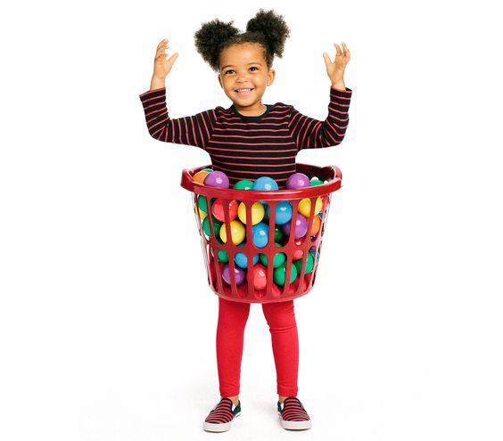 Your little one is guaranteed to have a ball in this fun-filled getup. As for clothing, it looks more convincing if you match the bottoms to the color of the laundry basket, and a dress or long shirt is in order to hold the balls.