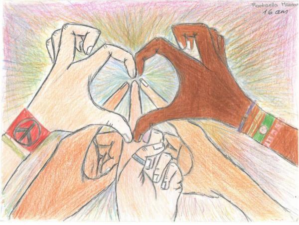 la paix est entre nos mains / Peace is in our hands    Artist:Raphaella M.  Location:Jounieh-Liban  Age:16