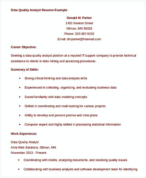 Data Quality Analyst Resume Example  Data Analyst Resume Entry
