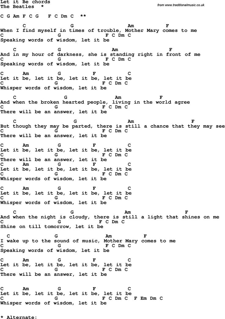 Song Lyrics with guitar chords for Let It Be, The Beatles