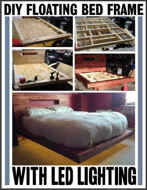 How To Make A Floating Bed With LED Lighting...http://homestead-and-survival.com/how-to-make-a-floating-bed-with-led-lighting/