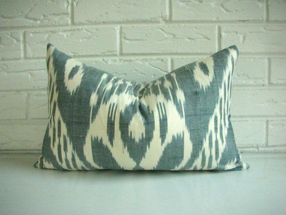 Ikat Pillow Cover Decorative Throw Lumbar Gray by habitationBoheme, $42.00