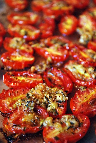 Roast some tomatoes for a tastier addition to your favorite salads, sandwiches, and sauces.  I love using a little honey,olive oil, lemon, balsamic vinegar, garlic, basil, and crushed red pepper. Throw some whole garlic cloves in there too. They get so sweet and buttery! Make a bunch and save to have on hand. <3 Ok, now I'm hungry :-)