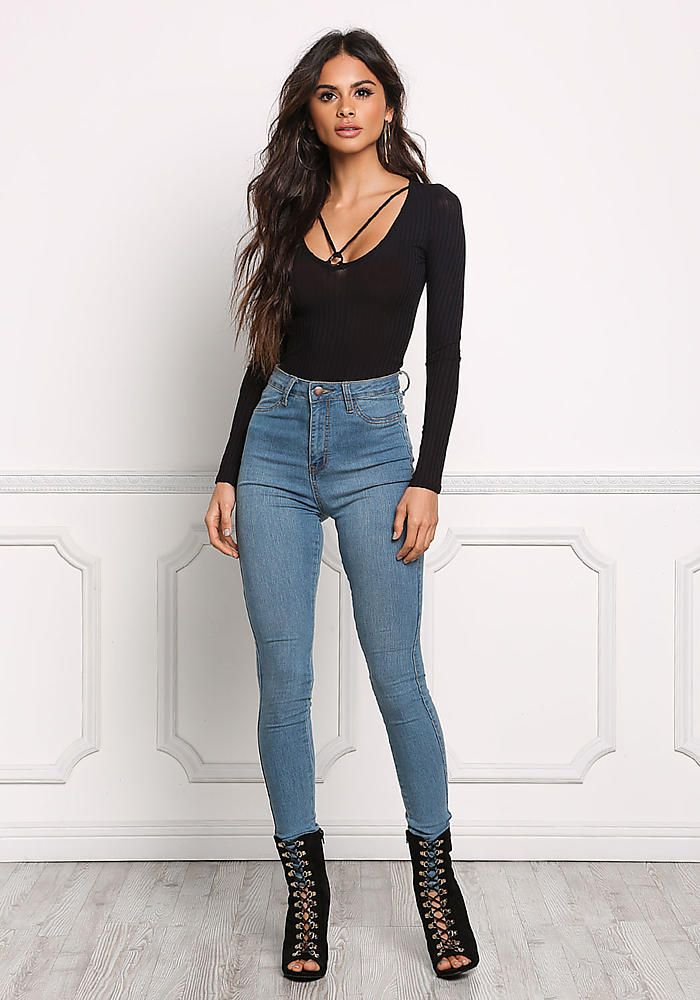 Black Strappy Hoop Ribbed Knit Top - Clothes