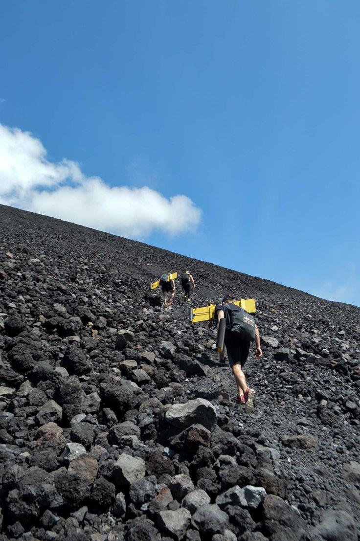 Volcano boarding on Cerro Negro in León, Nicaragua | heneedsfood.com