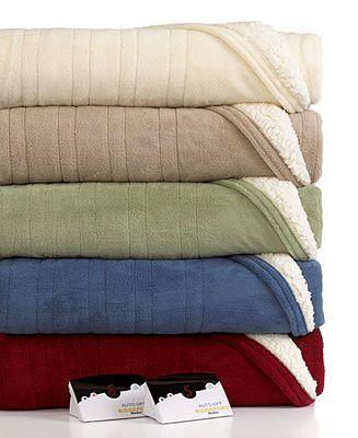Biddeford Microplush Reverse Sherpa Heated Twin Blanket - Blankets & Throws - Bed & Bath - Macy's