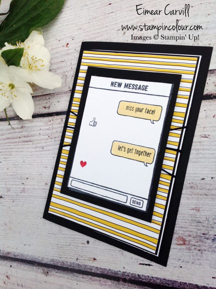 Eimear Carvill www.stampincolour.com Stampin' Creative with Make a Card Send a Card using Text Ya Later and Pick a Pattern DSP from the 2017-2018 Stampin Up Annual catalogue - a fun card for teenagers and anyone who has a phone addiction!!