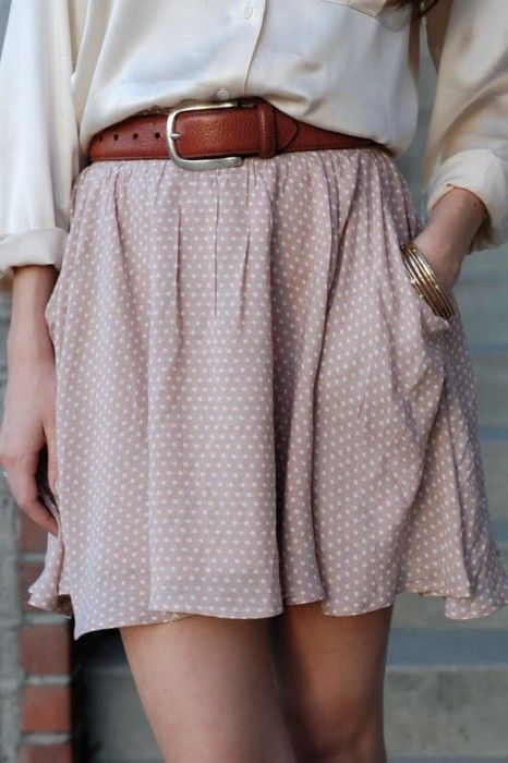 : Style, Flowy Skirts, Polka Dots Skirts, Dusty Pink, Summer Outfits, Spring Outfits, Leather Belts, Summer Clothing, Cute Skirts