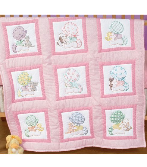 Create irresistible nursery quilts in designs that will delight your loved ones.  Each package contains 12 squares printed in blue ink on 50% cotton/50% polyester broadcloth, floss requirements and ad