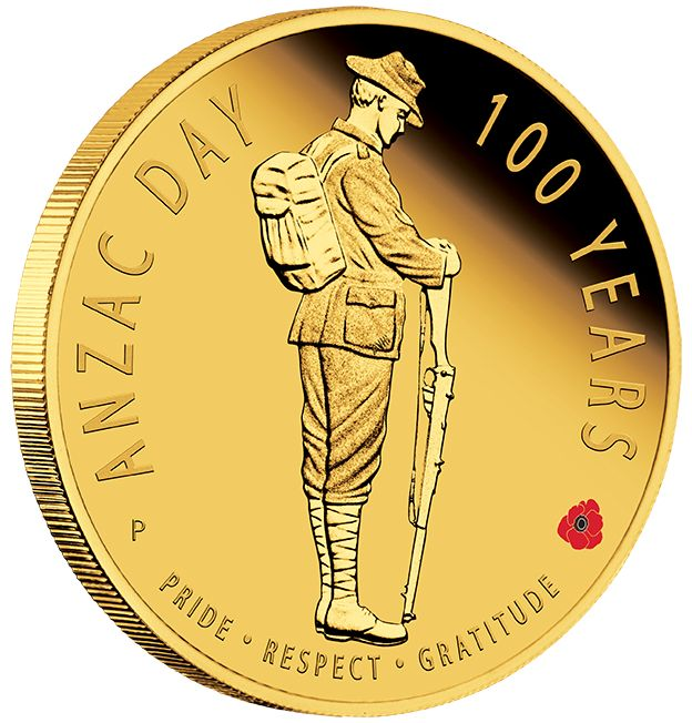 The ANZAC Spirit 100th Anniversary Coin Series – Anzac Day 100 Years 2016 1/4oz Gold Proof Coin