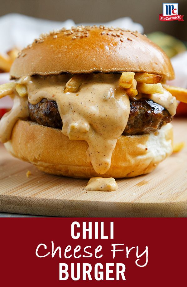Oozing with gooey chili cheese and spicy Original Chili Seasoning Mix flavor, this is the meal summer dreams are made of! Pile burger and French fries on a toasty bun and top with chili cheese sauce for an indulgent twist on the classic cheeseburger.