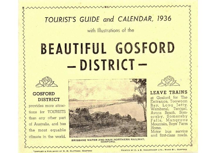 Beautiful Gosford 1936  Tourist's Guide and Calendar, 1936, with illustrations of the Beautiful Gosford District.