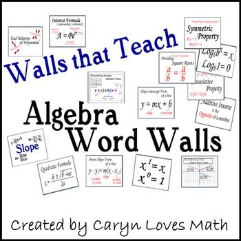 Over 110+ Concepts and Formulas from Algebra 1 and 2. Download the preview to see all the words. Includes a clickable table of content for easier navigation.  ✎ Slope ✎ Quadratic Equations ✎ Linear Functions (Equations) ✎ Function notation ✎ Domain ✎ Range ✎ Types of numbers ✎ Properties of real numbers ✎ Imaginary numbers ✎ Absolute Value ✎ Square Roots ✎ Exponents ✎ Logarithms and more