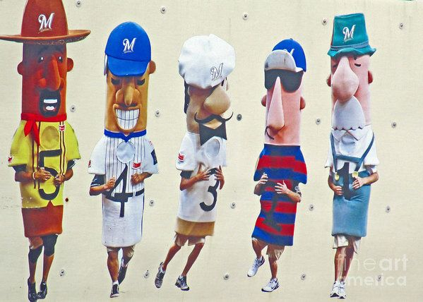 Milwaukee Brewers (Wisconsin based baseball team) racing sausages mascots.