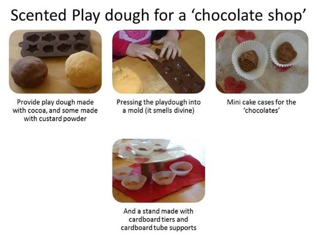 Scented play dough for a pretend play chocolate shop
