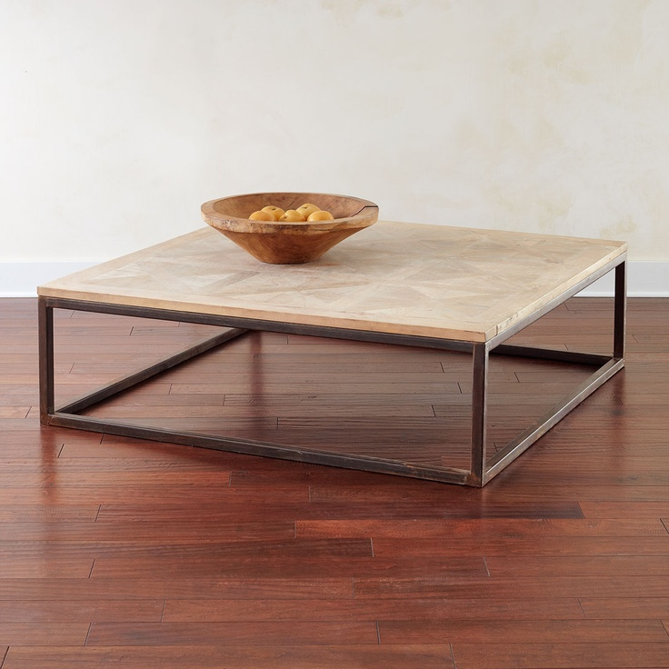 W4649 Square Parquet-Top Coffee Table Coffee Tables and Consoles