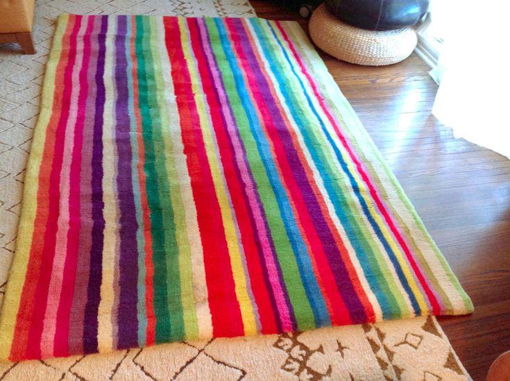 IKEA STRIB RUG striped bright stripes medium size 100% WOOL