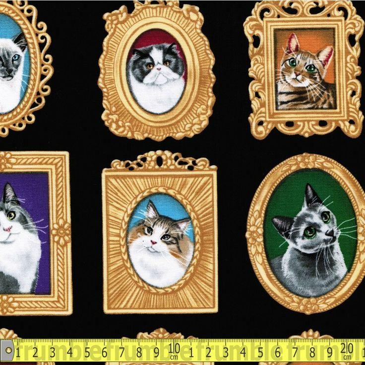 Cat portraits black fq for Frumble fabrics