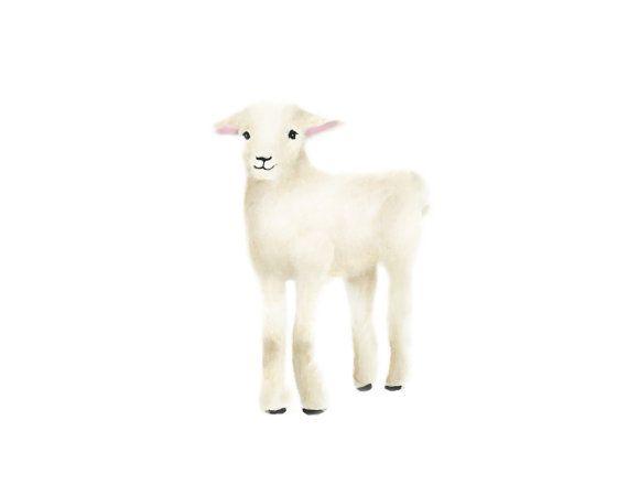 Agneau pépinière Art imprimer des animaux ferme par studioQgallery