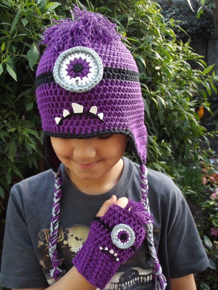 conjunto gorro y guantes sin dedo minion transformado, crochet