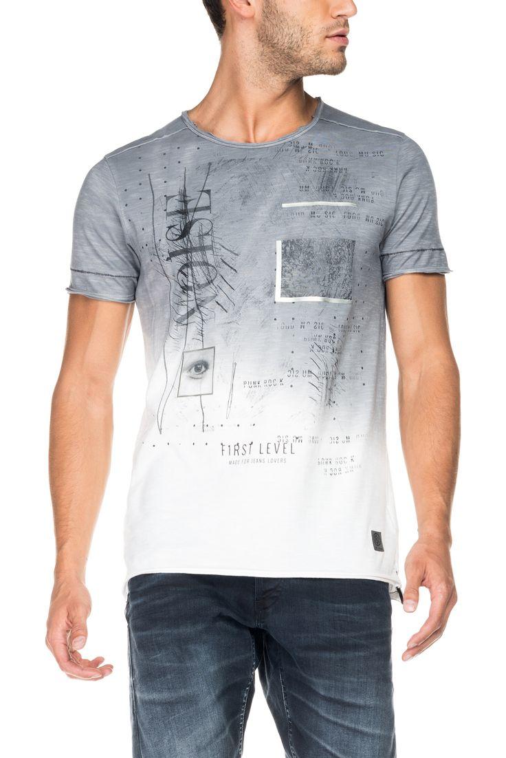 T-shirt 1st Level degradé com gráfico localizado | 116462 Cinza titânio | Salsa