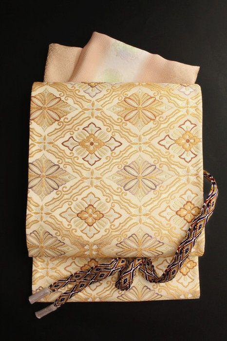 【織匠小平】特選西陣唐織袋帯「松花菱枠文」正絹袋帯金地