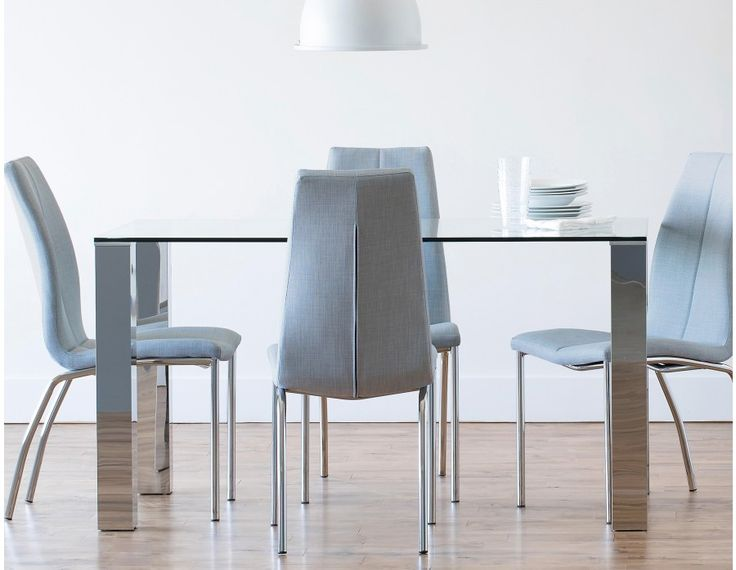 MACAO - Glass and stainless steel dining table - Chrome