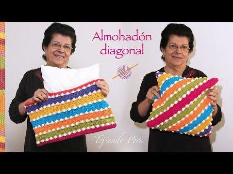 Funda en diagonal tejida a crochet para almohadones (la forma más fácil ...