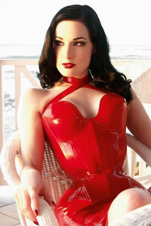 Gorgeous Dita in red latex! Hmmm...black hair with red latex. My complete opposite...I love it!!