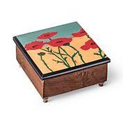 Red Poppies Music Box