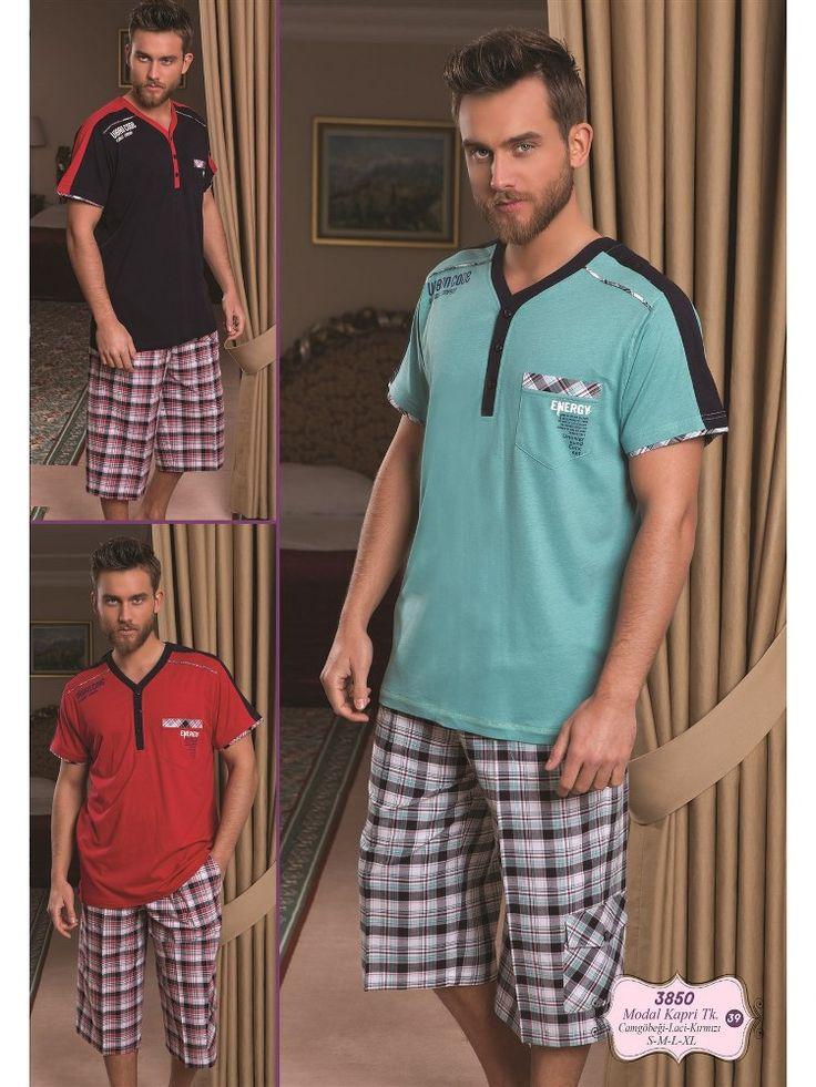 Bone 3850 Erkek Kapri Takım; Penye ve dokuma kumaştan üretilen erkek 3 lü pijama takım modelidir.