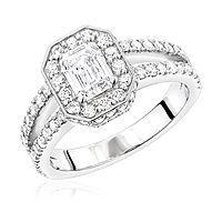 Halo Emerald Diamond Platinum Engagement Ring by Luxurman 2.2ct G/VS Diamonds
