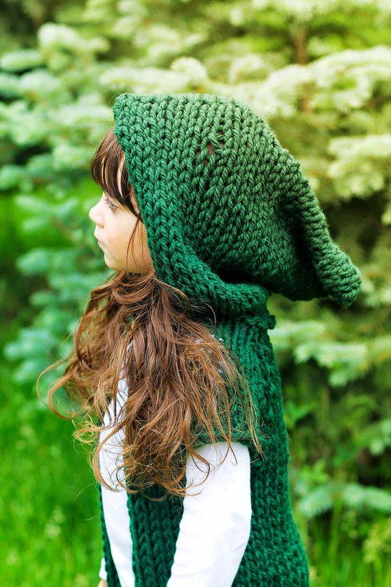 Hooded Sweater Green Childrens Hoodie Hobbit Cloak Elvin Toddler Festival Hand Knit