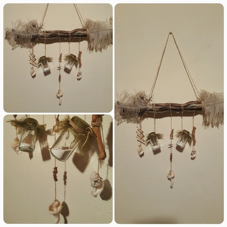 DIY Dream catcher, Bohemian Natural Products, Feather Mobile, Window Decoration, Dromen vanger, Veer mobiel, Raam Decoratie, Botten, Veren, Zand, Krabbenpootje, Schelp (en) Struisvogel veren.