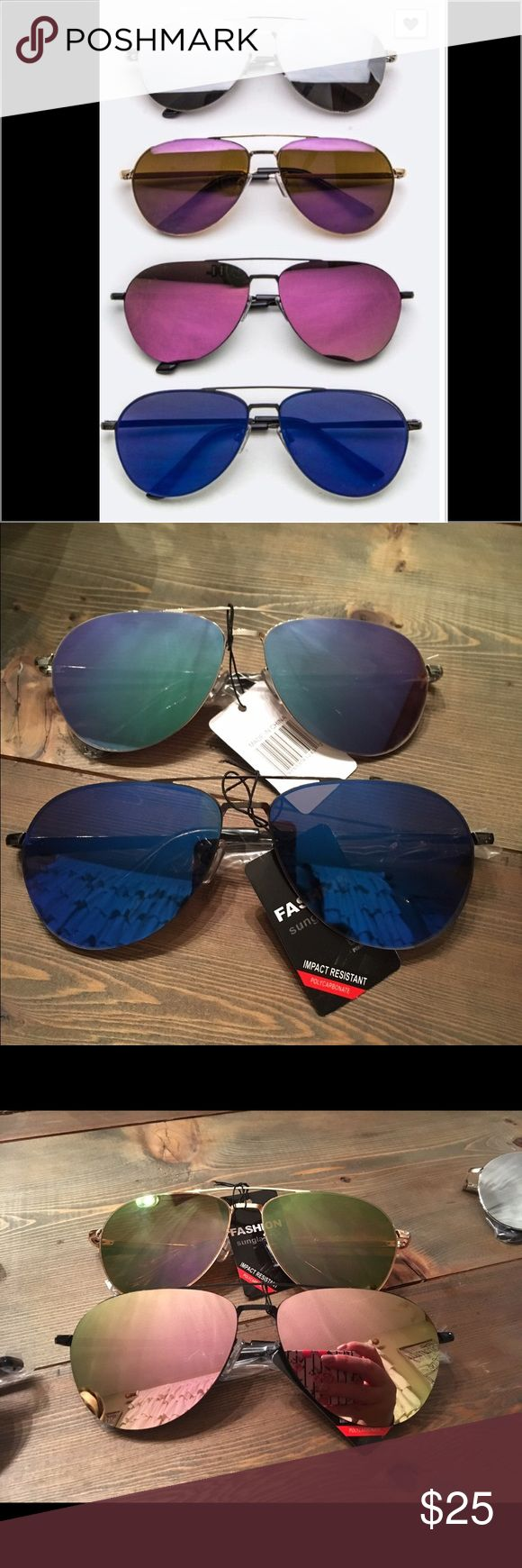 Mirrored Aviator Sunglasses Mirrored aviator sunglasses. Metal frame. 5 colors. Accessories Sunglasses