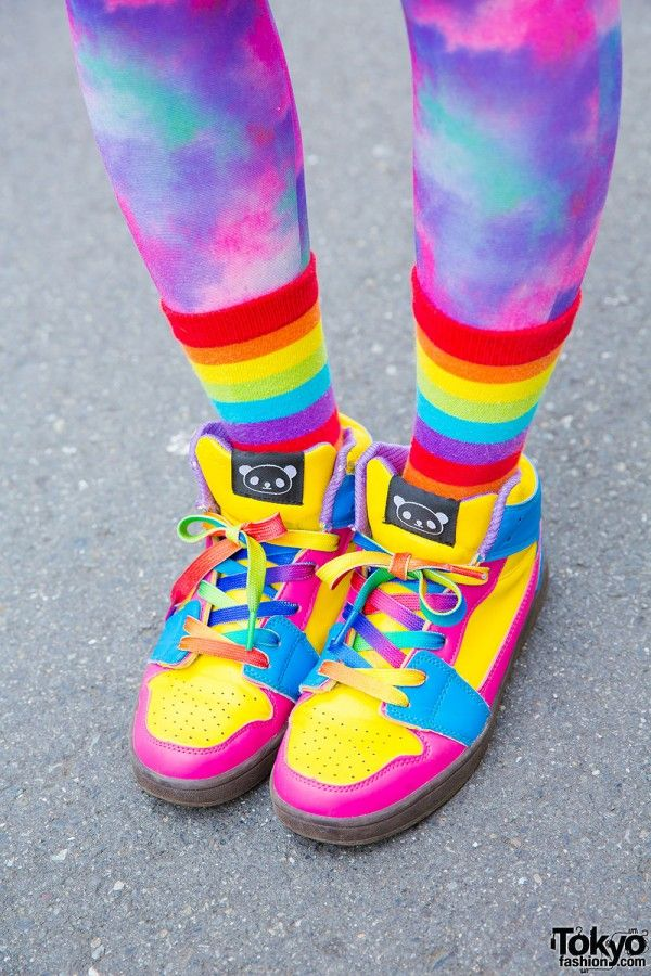 Psychedelic tights, rainbow socks and hi-top sneakers